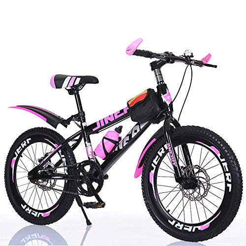 TATANE Biciclette per Bambini, 20/22/24 Pollici Studente Mountain Bike, Ragazzo e Ragazza Single Speed ​​Disc Brake Pedal Bike MTB,Rosa,22inch