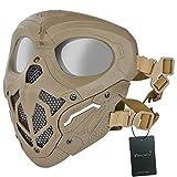 WISEONUS Máscara de airsoft táctica BBs Equipo de protección Máscara de cara completa para Halloween, caza, paintball CS Wargame (tan)