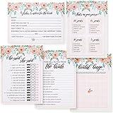 5 Lustige Spiele für Brautdusche, Hochzeit, Junggesellinnenabschied (50 Karten zum Ausfüllen pro Spiel, Rosa, Blumendesign, 13 x 18 cm)