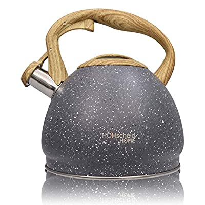 【2.8 Quart】Stove Top Whistling Tea Kettle-Surgical Stainless Steel Teakettle Teapot with Wooden design Cool Touch Ergonomic Handle (Black A)