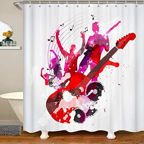 Loussiesd Gitarre Badezimmer Duschvorhang 180x200cm Rock Musik Themed Dusche Vorhang Musikal Muster Duschvorhang Textil Gitarre Instruments Drucken Wasserdichtes Stände Bathtubs Dekor