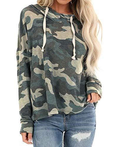 Dresswel Camouflage Hoodie Damen Kapuzenpullover Tarnung Druck Pullover Pulli Langarmshirt Kapuzenpulli Bluse Top Sweatshirt