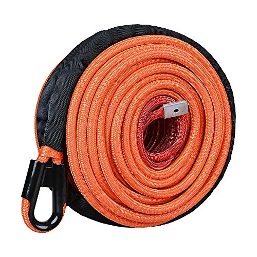 Astra Depot 95ft 3/8 inch Orange Synthetic Winch Line Rope 22000LBs with All Heat Rock Guard for ATV UTV Truck RV KFI Marine Boat