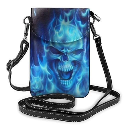 AOOEDM Small Cell Phone Purse Fashionable Skull Blue Flame Teléfono celular Bolso pequeño para hombros Bolso bandolera Smartphone Paquete al aire libre para viajes Trabajo Compras Caminar