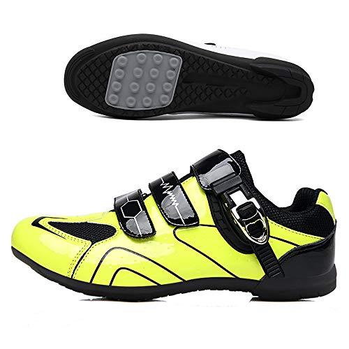 LU-Model Zapatillas de Ciclismo para Carretera Plus, con Suela de y Sistema rotativo de precisión Suela Dura para Zapatos de Montar sin Bloqueo Yellow-39