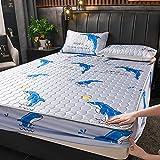 Ajustable Elástica, Suave y Cómoda,Sábana ajustable para cama de látex de sensación fresca de seda de hielo, almohadilla de protección antideslizante para apartamento de dormitorio-J_120cmx200cm