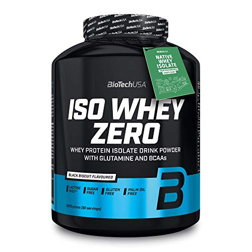 BioTechUSA Iso Whey Zero Premium Whey Protein Isolate with Native Whey Isolate, Added BCAA and glutamine, 2.27 kg, Black Biscuit