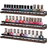 Mkono Nail Polish Rack Organizer Wall Mounted Essential Oil Holder 3 Pack Rustic Wood Floating Shelves for Spices Storage and Display Ledges Shelf, 18'