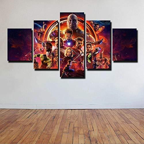 VYQDTNR 5 Pezzi su Tela Wall Art 3D Stampato Avengers Infinity War Pittura Immagine Poster Opere d'Arte per Soggiorno Camera da Letto Ufficio Decorazione della Casa Incorniciato