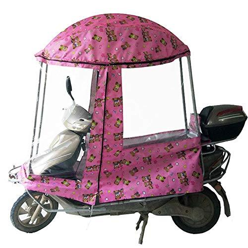LZiioo Motor-Fahrrad-Sonnenblende Schatten Zelt-Regenschirm-Windschutzscheibe elektrisch voll gekapselt Folding Sonnenschutz Regen-Abdeckung,Rosa,C