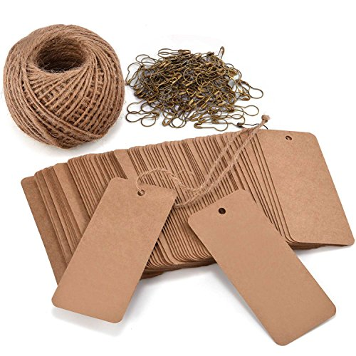 LOOMY 200PCS Kraft Marking Tags with Safety Pins and 157 Feet Natural String to Label Clothes for Garage Yard Consignment Tag