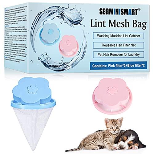 SEGMINISMART Pet Hair Remover,Depiladora de Mascotas,Atrapador de pelos Flotante para Mascotas, Herramientas de Limpieza,Reusable Floating Laundry Lint Mesh Bag