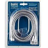 INEX Europa - Manguera Flexible flexo para Alcachofa de ducha de mano o bañera, de acero inoxidable, 175 cm, Conexiones universales, Fácil de instalar.