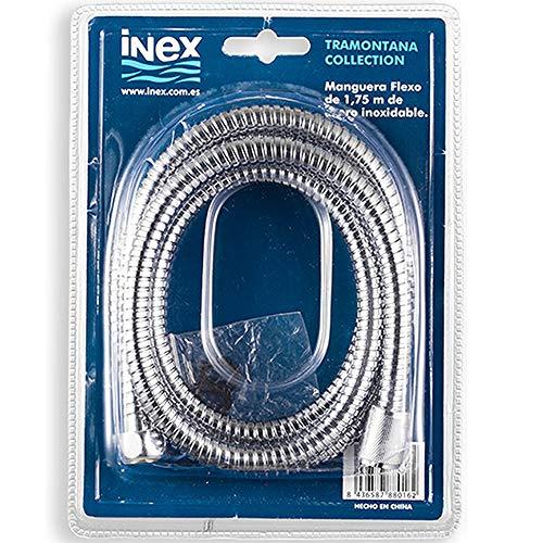 Manguera Flexible para ducha de mano, de acero inoxidable, 175 cm, Conexiones universales, Fácil de instalar, INEX Europa, FLX88088