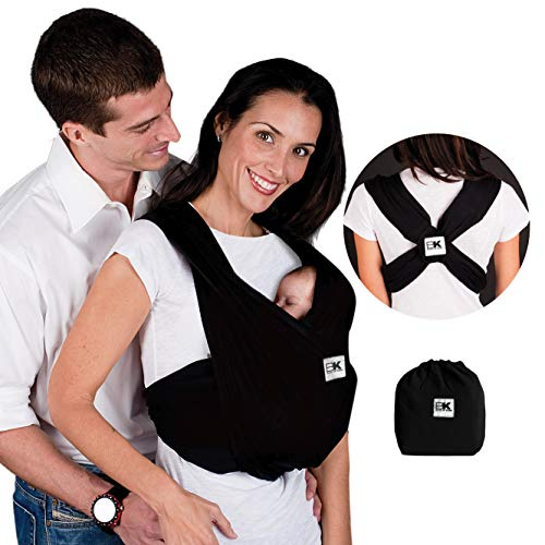 Baby K'tan Original Baby Wrap Carrier, Infant and Child Sling - Simple Pre-Wrapped Holder for Babywearing - No Tying or Rings - Carry Newborn up to 35 lbs, Black, Women 10-14 (Medium), Men 39-42.