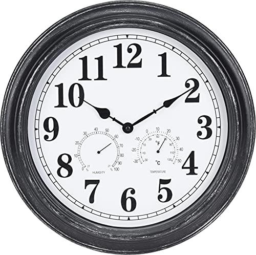 Estación de reloj de pared grande de 40 cm con termómetro y indicador de humedad, color negro de 40 cm