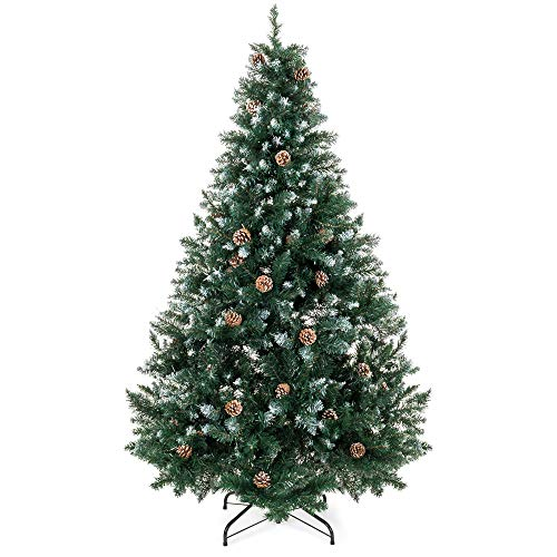 Best Choice Products 6ft Hinged Artificial Christmas Tree for Home Living Room Holiday Decoration w/Snow Flocked Tips, Pine Cones, Metal Stand, Green