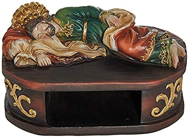 Autom Sleeping St Joseph With Shelf Base For Rosary Saint Statue 6 Inch