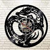 ZYBBYW Disco de Vinilo Reloj de Pared Dragon Beast Colgante Reloj de Vinilo Estilo casero Creativo decoración de Arte diámetro 30 cm