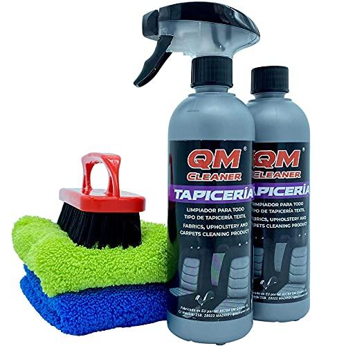 QM cleaner Kit limpiador de tapicería para todo tipo de tejidos - Incluye 2 QM tapicería 2 microfibras y 1 cepillo para mejor resultado
