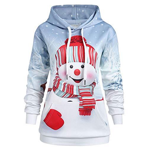 Aiserkly Suéter de Navidad con Capucha para Mujer con Bolsillo Grande y Capucha con Estampado de muñeco de Nieve con Capucha de Manga Larga para Disfraz de Navidad Blanco Blanco S
