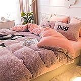 BGSFF Funda de edredón de 4 piezas, imitación de terciopelo cordero, terciopelo coral, doble cara, acolchado de cama, sábanas de invierno de terciopelo Fale *2 (2 200 x 230 cm)