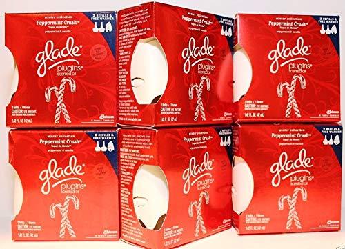 Glade Plug-In Sc. Oil Starter Kit (Warmer & Refill) Peppermint Crush 6-Pack