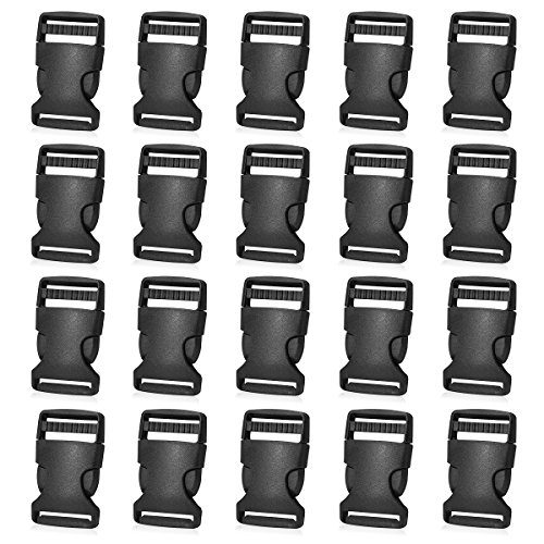 20 Pack Plastic Buckles 1 Inch Quick Side Release Buckles for Backpack Webbing Belt (Black)