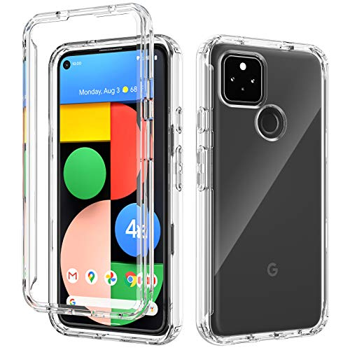 iMangoo for Google Pixel 4A 5G Case Transparent Heavy Duty Protective Slim Cover Anti-Slick Dual Layer Soft Back Shell + Hard PC Front Open Frame Phone Cases for Google Pixel 4A 5G Version 2020 Clear