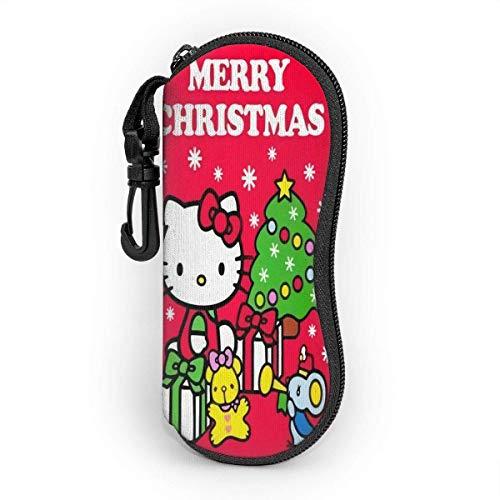 Brillenetui Hello Kitty Frohe Weihnachten Sonnenbrillenetui Ultra Soft Light Neopren Reißverschluss Brillenetui mit Gürtelclip