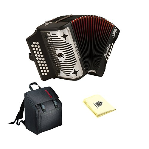 Hohner 3100GB Panther Diatonic Button Accordion in Black with accordion case and...