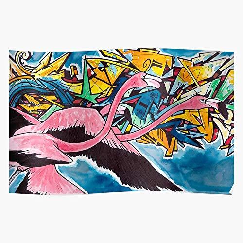 Graffiti Chile Like Art Chilean Beautiful Stylish Animal Flamingo Creature Impresionantes carteles para la decoración de la habitación impresos con la última tecnología moderna sobre papel semibrilla