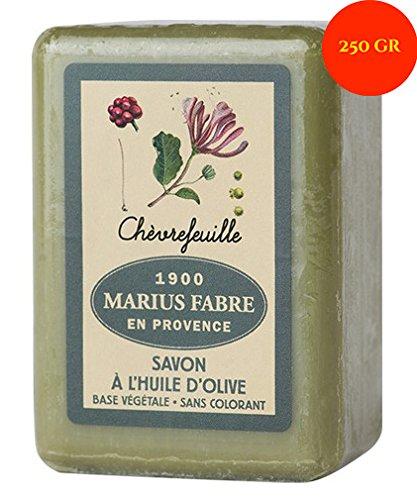 Marius Fabre Savon de Marseille – Savonnette de 250g à l'huile d'olive délicatement parfumée au chèvrefeuille, nettoiera votre peau en douceur, et fer