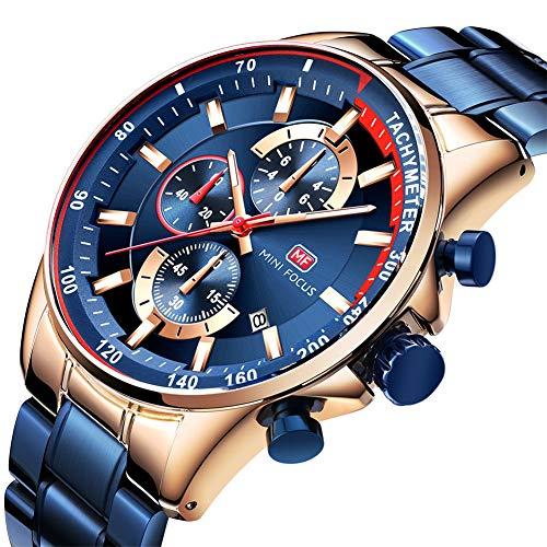MINI FOCUS Sport Herrenuhren Chronograph Stahlband Quarzuhr für Männer Kalender Mode blau,Blue
