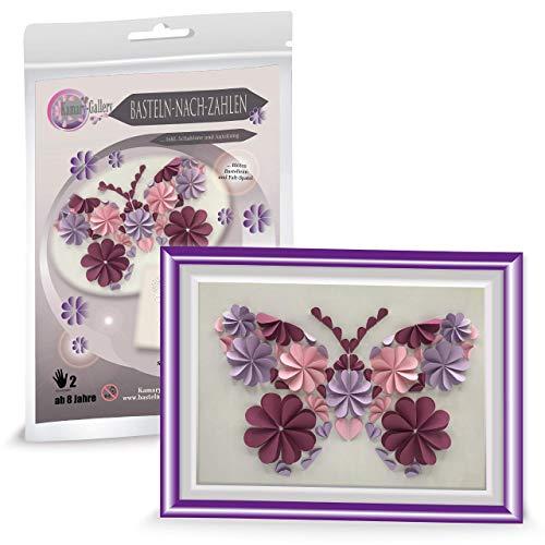Papierbastelset ab 8 Jahre, Bastelset Kinder Basteln nach Zahlen Motiv Schmetterling in 3D basteln, Papier Deko, Kindergeburtstag Gastgeschenk, Geschenk für Mädchen