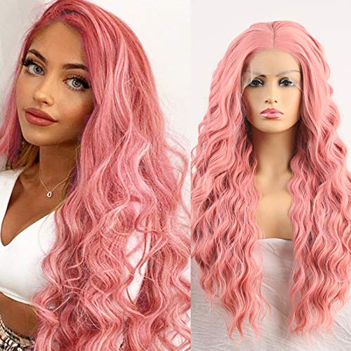 """Imeya Long Wavy Wig 24"""" Pink Body Wave Wig Side Parting 13x4 Lace Front Synthetic Wig With Soft Heat Friendly Fiber 150% Density Loose Curly Wig Pastel Wig With Natural Hairline (24 Inches)"""