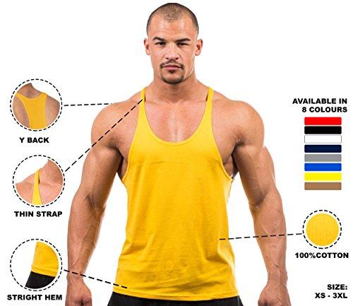 DK Active Wear Herren Gym Weste Bodybuilding Muscle Y Rücken Stringer Racerback Weste XXX-Large gelb