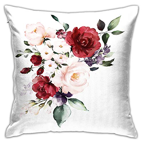 Gggo Square Cushion Cover Living room sofa watercolor burgundy flowers floral illustration leaf Throw Pillowcaser with Hidden Zipper for Home Decor 45x45cm