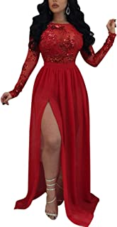 Nhicdns Womens Backless Lace Sequins Long Sleeve Party Slit Dresses