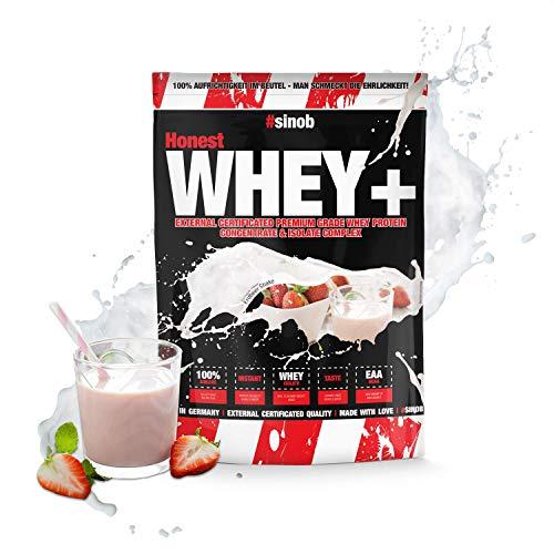 sinob Honest Whey Protein - Erdbeer Shake - 1 x 1000 g. 12,5% Isolate Anteil. Instant lösliches Eiweißpulver mit BCAA & EAA 'Hergestellt in Deutschland'