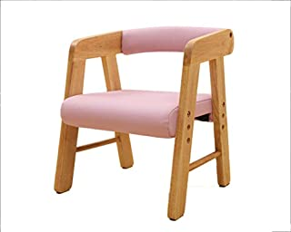 Mamrar Children's Wood Chair Stool Backrest Armrest Liftable Stool Learning Chair Bench Seat (Color : Pink)