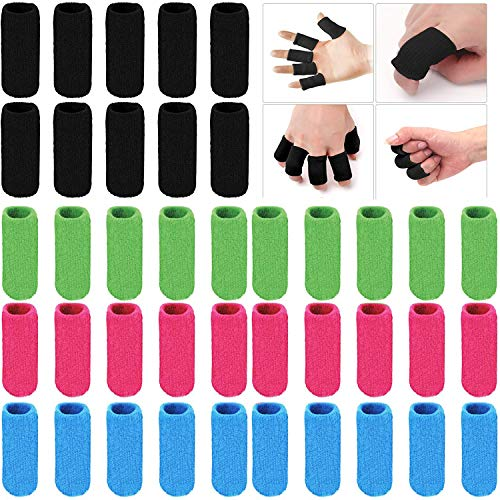ELANE 40 PCS Finger Splint Finger Holster Thumb Brace Support Elastic Sleeves for Finger Support ,Knuckle,for gaming,sports,basketball,black,green,skyblue,rosered