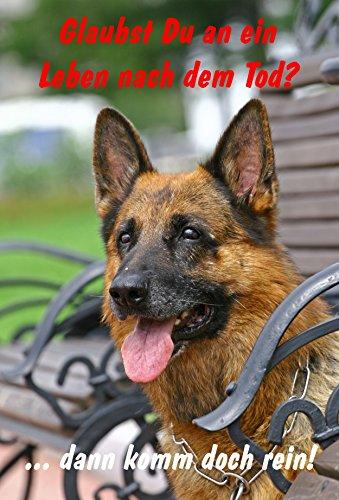 Schild Warnschild Achtung Schäferhund – Glaubst Du an ein Leben nach dem Tod dann komm doch rein - Hund Hundeschild 30x20cm Hartschaum Aluverbund -S28E