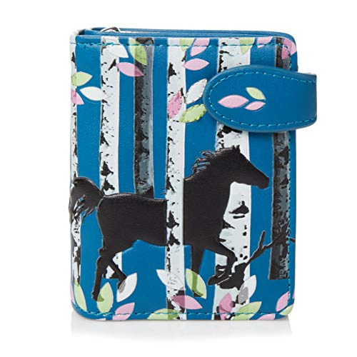 SHAGWEAR Portemonnaie Geldbörse Damen Geldbeutel Mädchen Bifold Mehrfarbig Portmonee (Wald Pferd/Forset Horse)