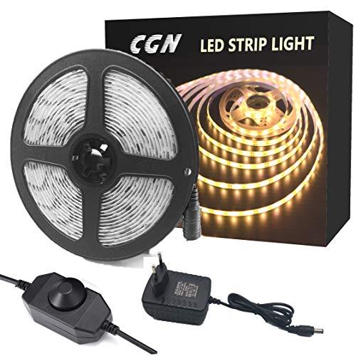 CGN LED Streifen Warmweiß 5M 300 LED Lichtband mit Netzteil Dimmbar LED Strip Set LED Bänder Lichterkette Stimmungslicht für Deko Kinderzimmer Fenster Selbstklebend Schneidbar (3000K)