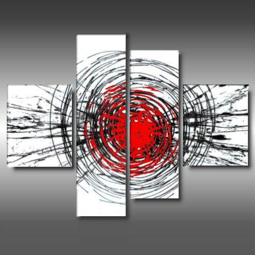 ART MMB 'Big Bang Bianco - 4 Quadri Moderni Astratto Color Bianco Nero Rosso Dipinto A Mano su Tela Gia' INTELAIATO