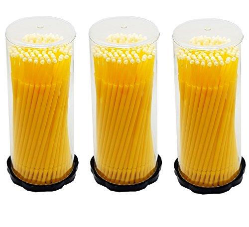 300 Stück- 3x 100 Stück Microbrush Applikator Microfaser Pinsel Reinigungsstäbchen Minipinsel Mikrostäbchen- Gelb 2 mm für Wimpernverlängerung