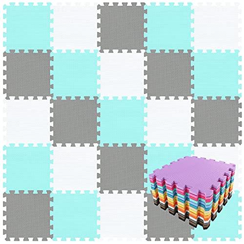 qqpp Alfombra Puzzle para Niños Bebe Infantil - Suelo de Goma EVA Suave. 18 Piezas (30 * 30 * 1cm), Blanco,Verde,Gris. QQC-AHLb18N