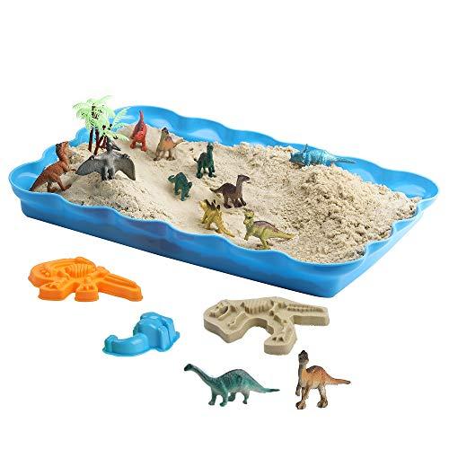 恐竜の砂場 砂遊びおもちゃ 砂場セット 砂セット 室内砂場 砂粘土おもちゃ 手を汚さない 12恐竜置物 20型抜...