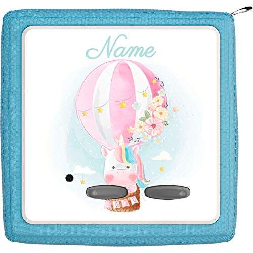 Coverlounge® Schutzfolie passend für die Toniebox mit Namen personalisiert | Einhorn fliegt im Heißluftballon